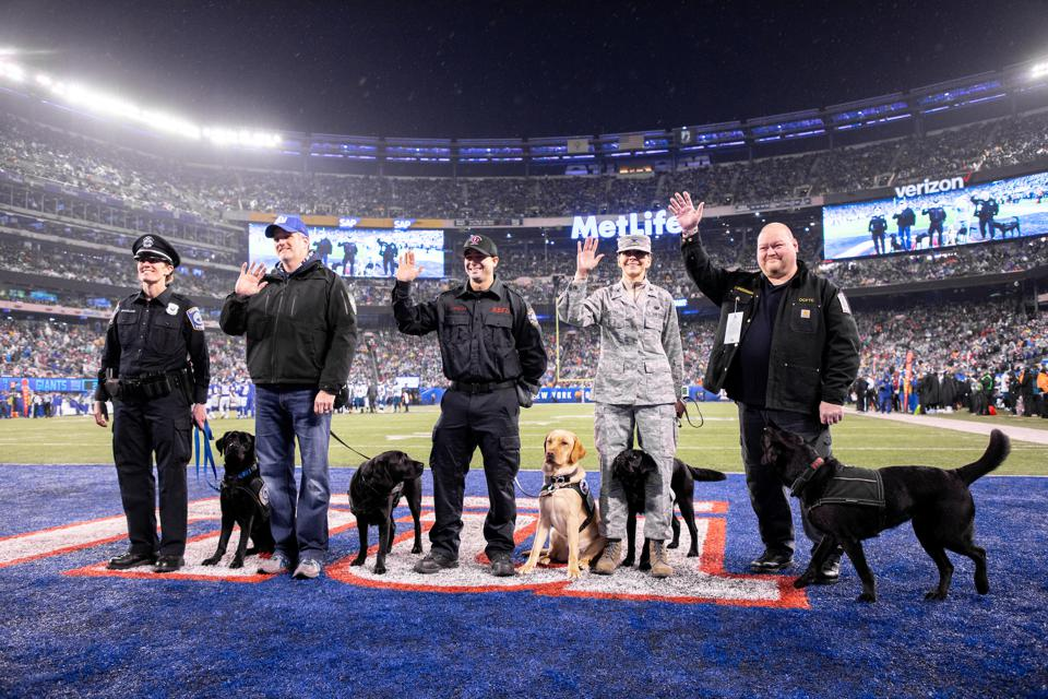 Puppies Behind Bars recipients at a New York Giants Game