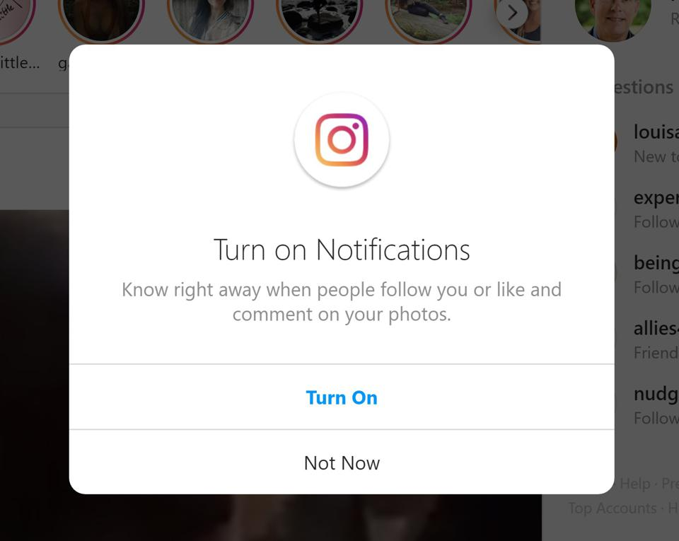 Instagram popup to turn on notifications offers ″turn on″ and ″not now″ choices