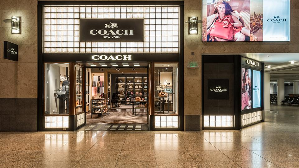 Hudson's Coach storefront at Seattle-Tacoma International Airport