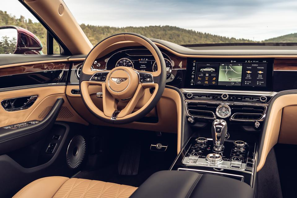 Bentley Rotating Display showing the infotainment system in the new Flying Spur.