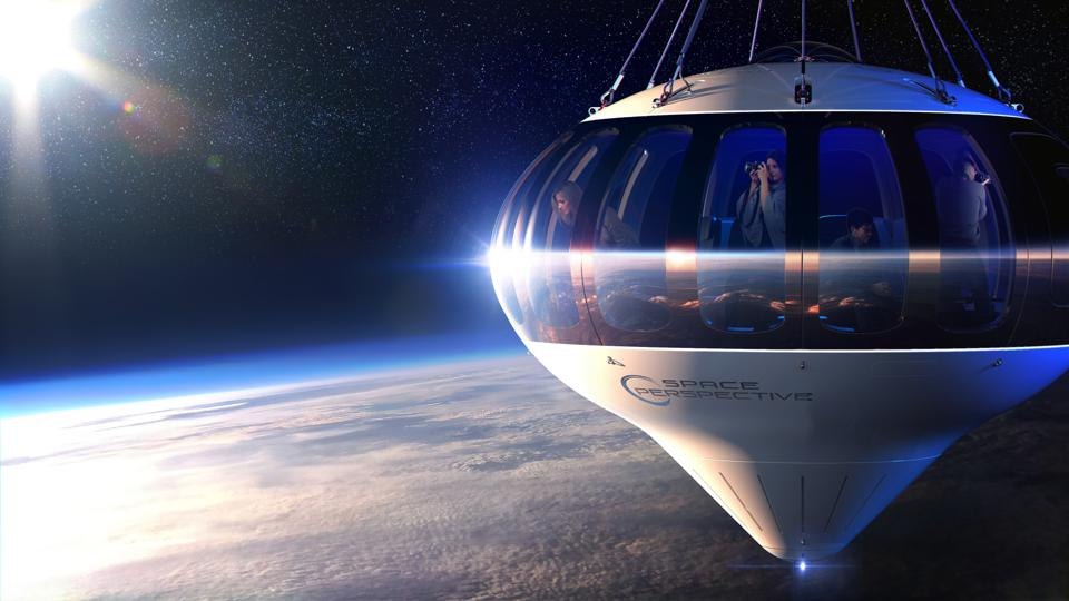 A rendering of the Space Perspective capsule Neptune in  space.