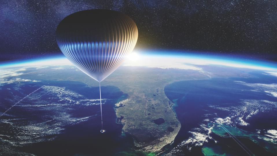 Rendering of the Space Perspectve capsule and balloon above earth.