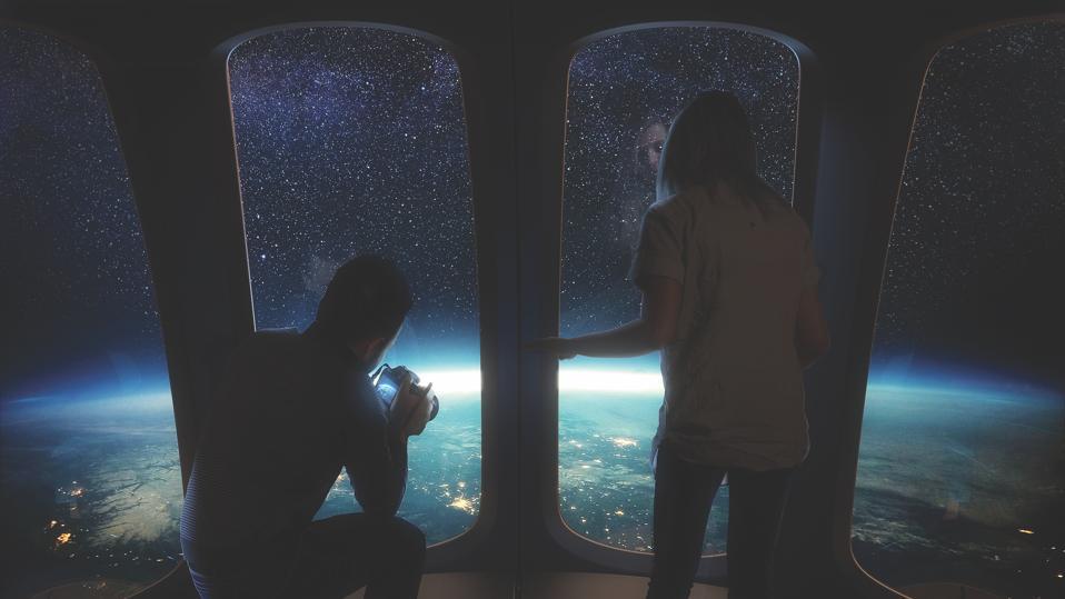 Rendering of passengers aboard Space Perspective Neptune