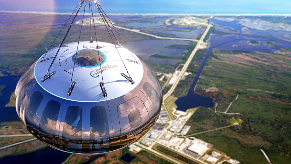 Rendering of Space Perspective capsule above Kennedy Space Center.
