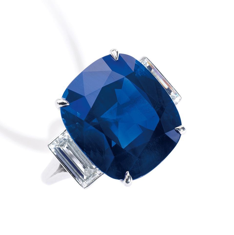 Celebrity Travel: sixteen.eleven-carat Kashmir sapphire, estimate: $300,000 - $500,000