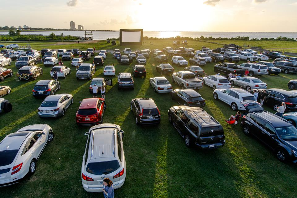A pop-up drive-in movie theater in Louisiana