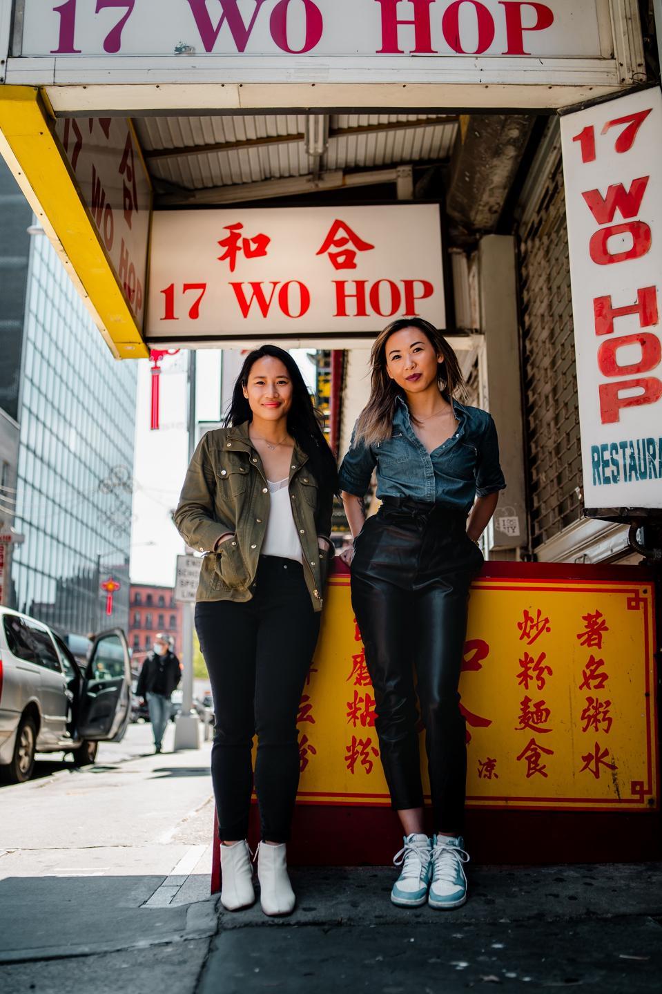 jennifer tam and victoria lee on chinatown street
