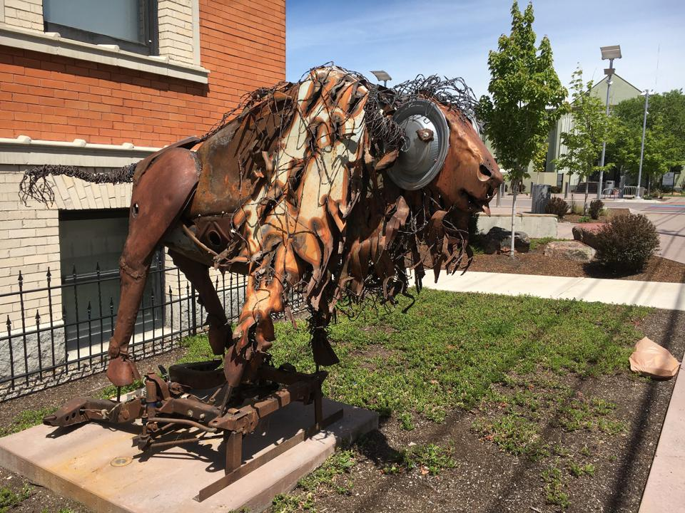 Jay Laber, ″Bison,″ mixed media found objects.