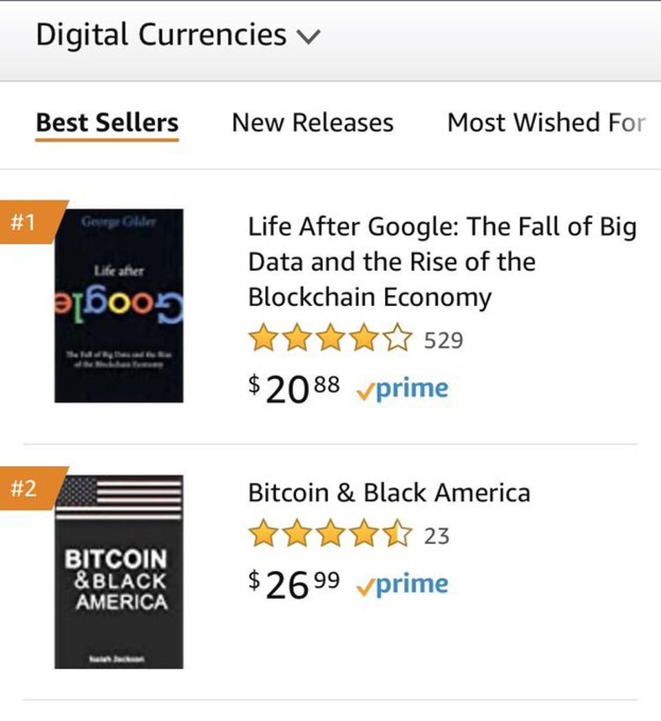 Amazon Best Sellers During Week of June 8, 2020 for Digital Currencies shows Bitcoin & Black America in the #2 spot.