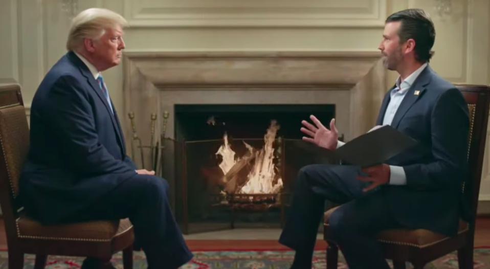 WASHINGTON, DC - June 18: President Donald Trump joins son Donald Trump Jr. on his podcast, 'Triggered'