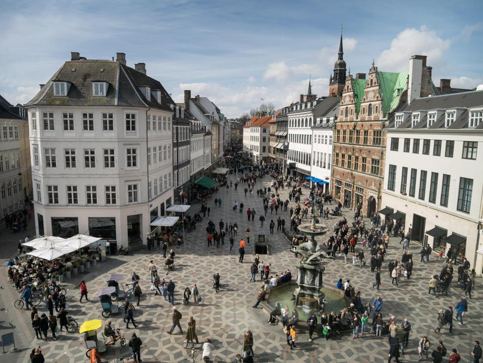 The central square in Copenhagen, Denmark.