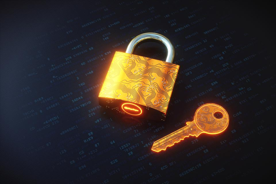 Golden digital padlock and key on encrypted data
