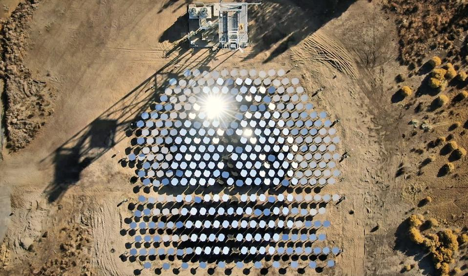 Bird's eye view of Heliogen's Lancaster, CA test facility.
