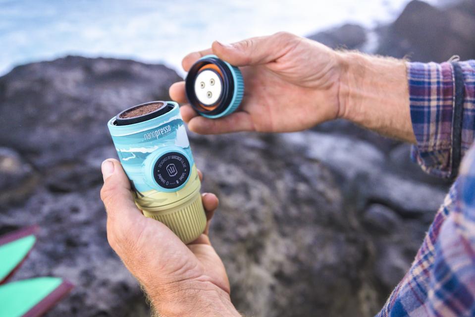 Get your caffeine fix on the road with Wacaco's ″Nanopresso″ machine.
