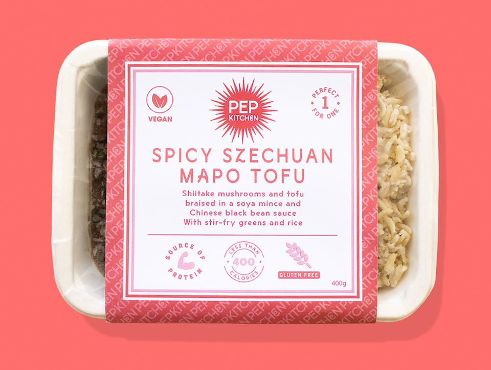 spicy tofu ready meal on pink background