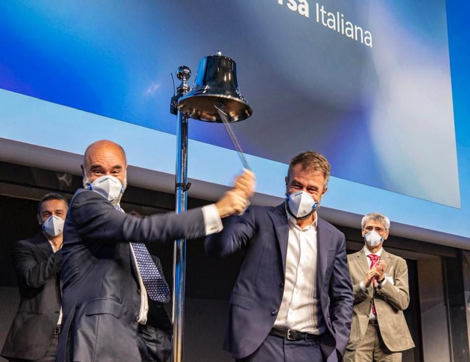 CEO Massimo Scagliarini (right) and VP of Energy & Mobility Marco Scagliarini (left) ring the bell at the Milan Stock Exchange on June 19 for the IPO of GVS.