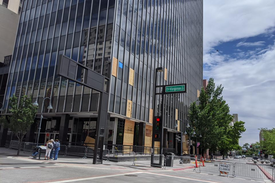 Reno's city hall after the civil unrest in early June. The city is welcoming visitors back amid turmoil.