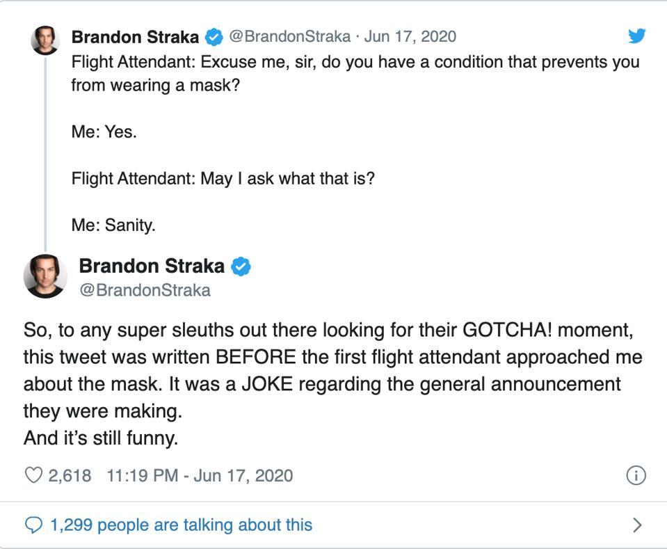 Tweets from @BrandonStraka from June 17, 2020
