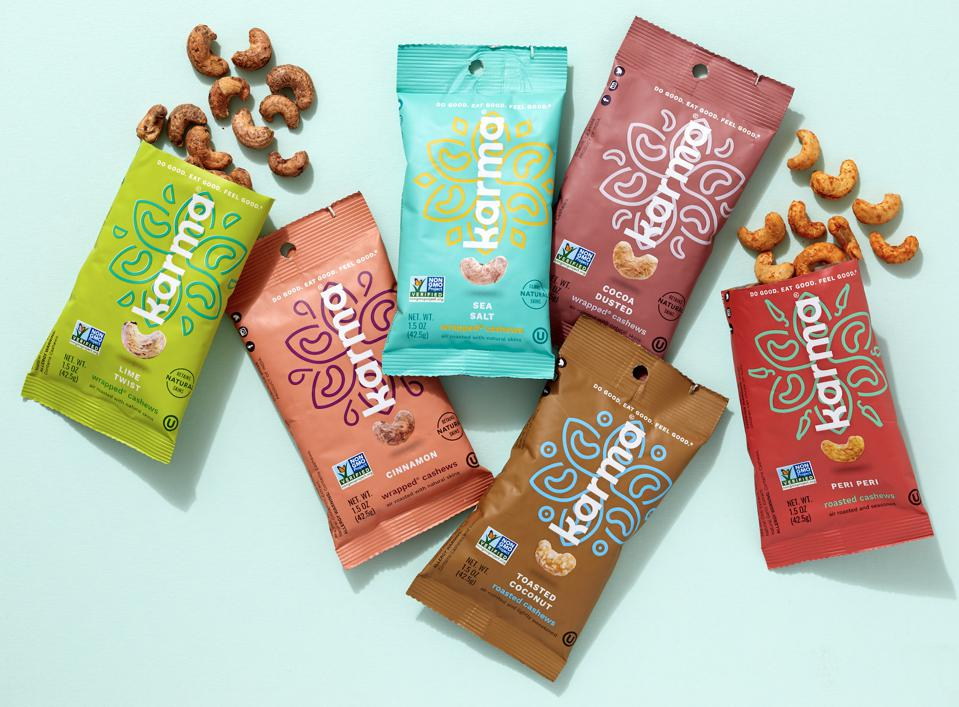 cashews in colorful packaging