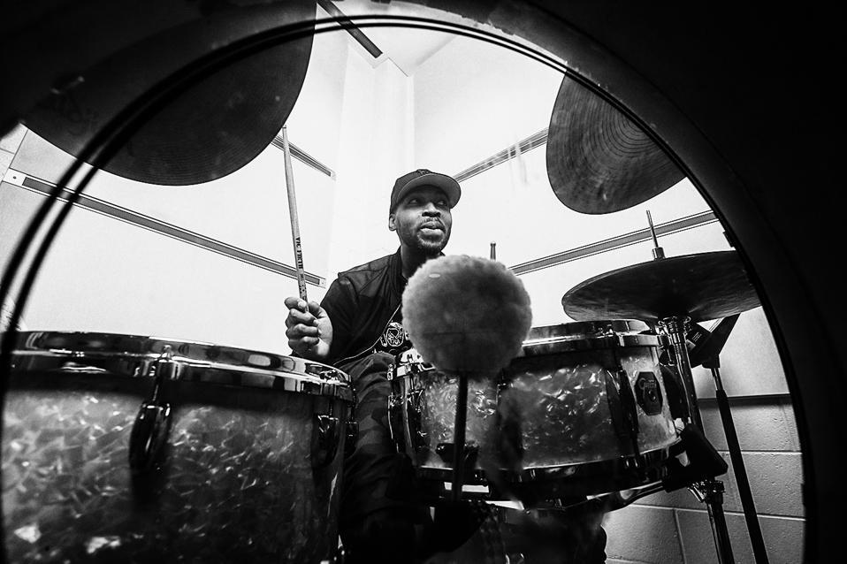 Jazz drummer Eric Harland playing his kit