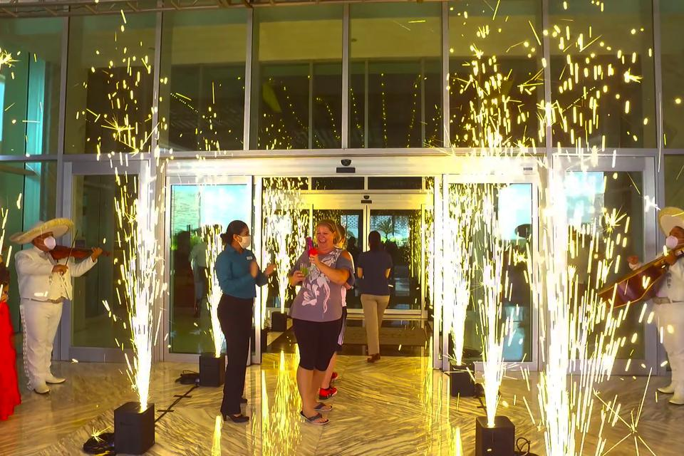 Grand opening at The Grand at Moon Palace Cancun. The resort turned the lights back on for visitors.