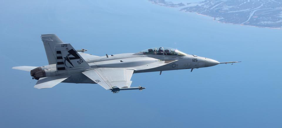 A Super Hornet with conformal fuel tanks.