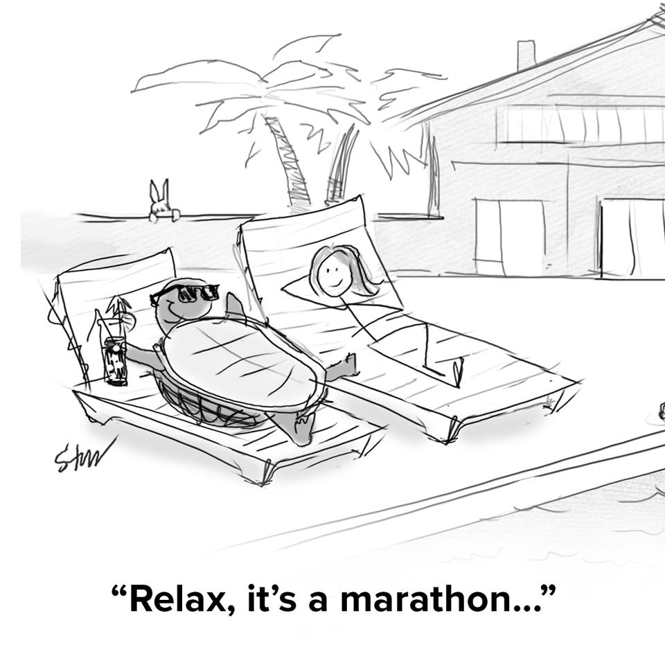 A turtle lounging poolside with a cocktail with a hare in the distance peeking over a wall and the turrtle is saying ″relax, it's a marathon″