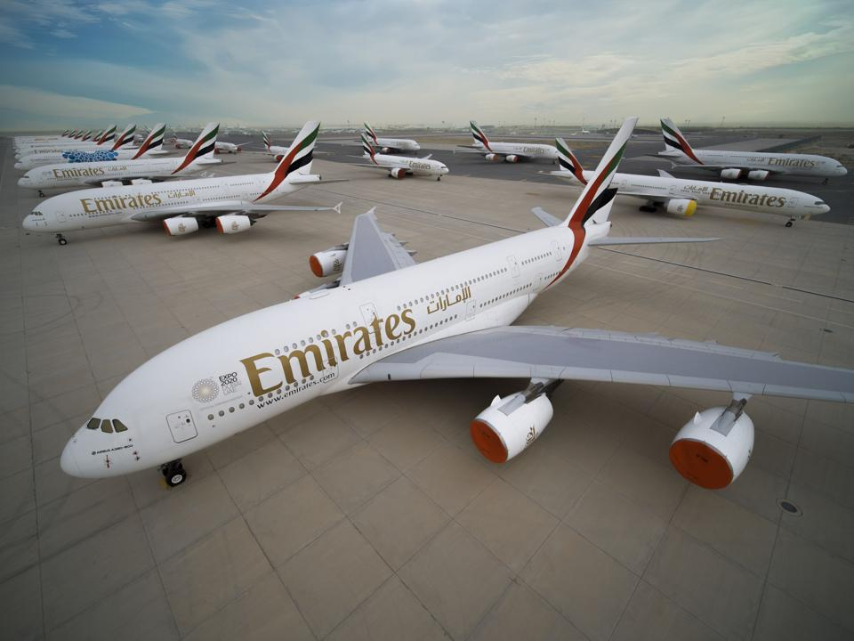 Rows of parked A380 aircraft.