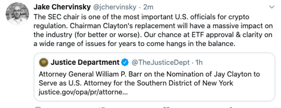 Jake Chervinsky posts on SEC Chair replacement after news of Trump's pick of Jay Clayton to U.S. Attorney of New York.