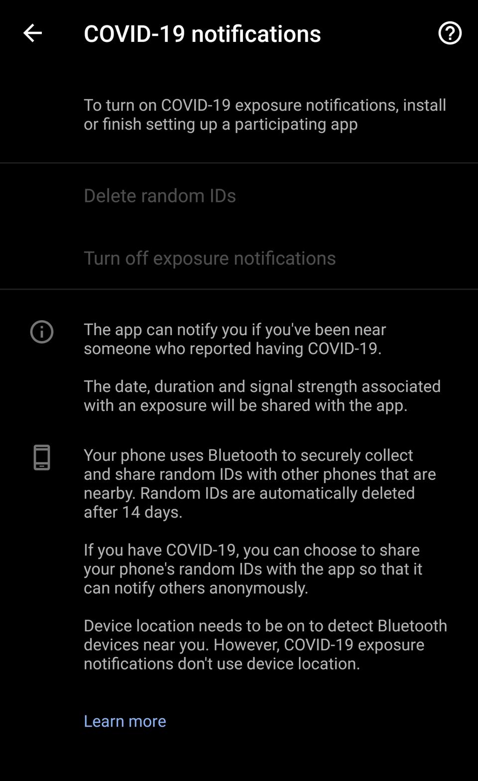 Another Android screenshot showing status of COVID-19 exposure notifications