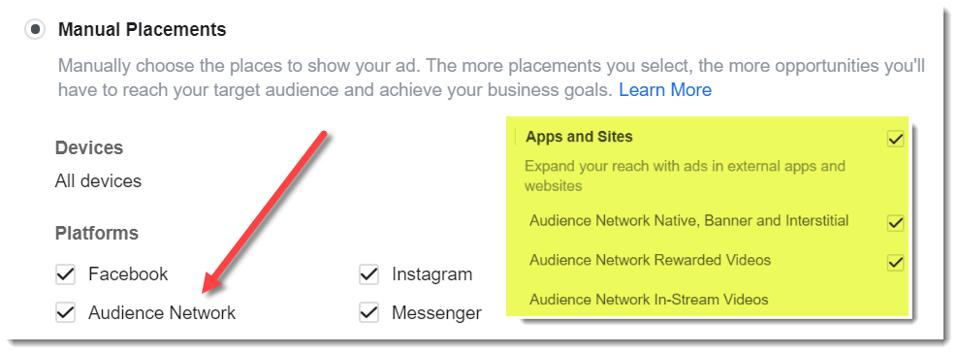 Screen shot of Facebook Audience Network setting