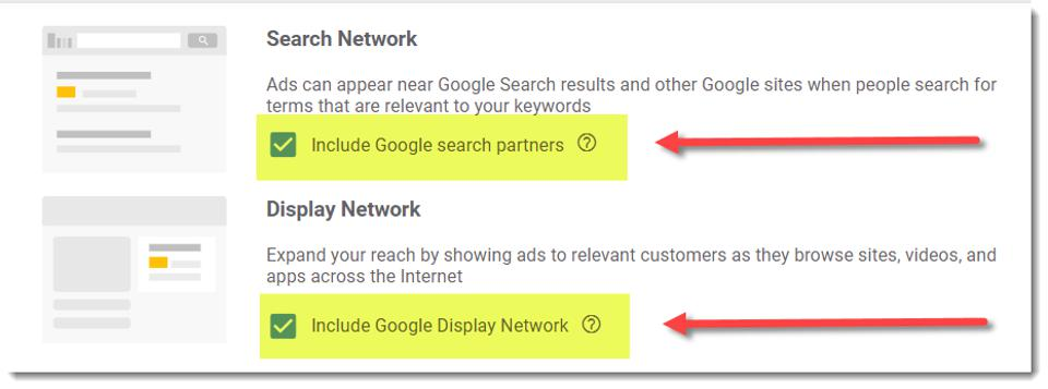 screen shot of search partners and display network in Adwords