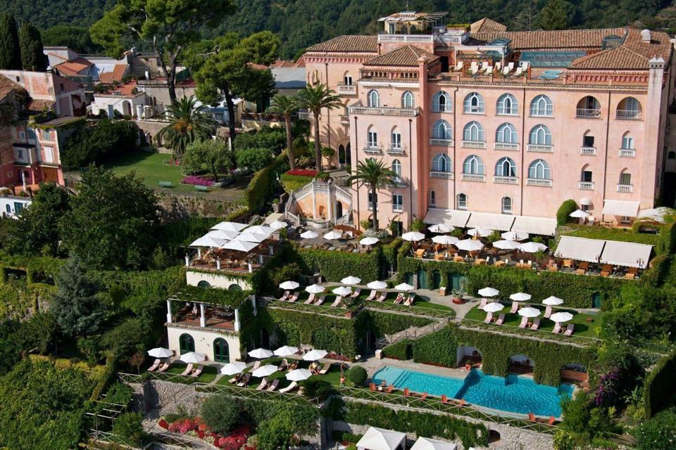 Pink palace Palazzo Avino in Ravello on the Amalfi coast