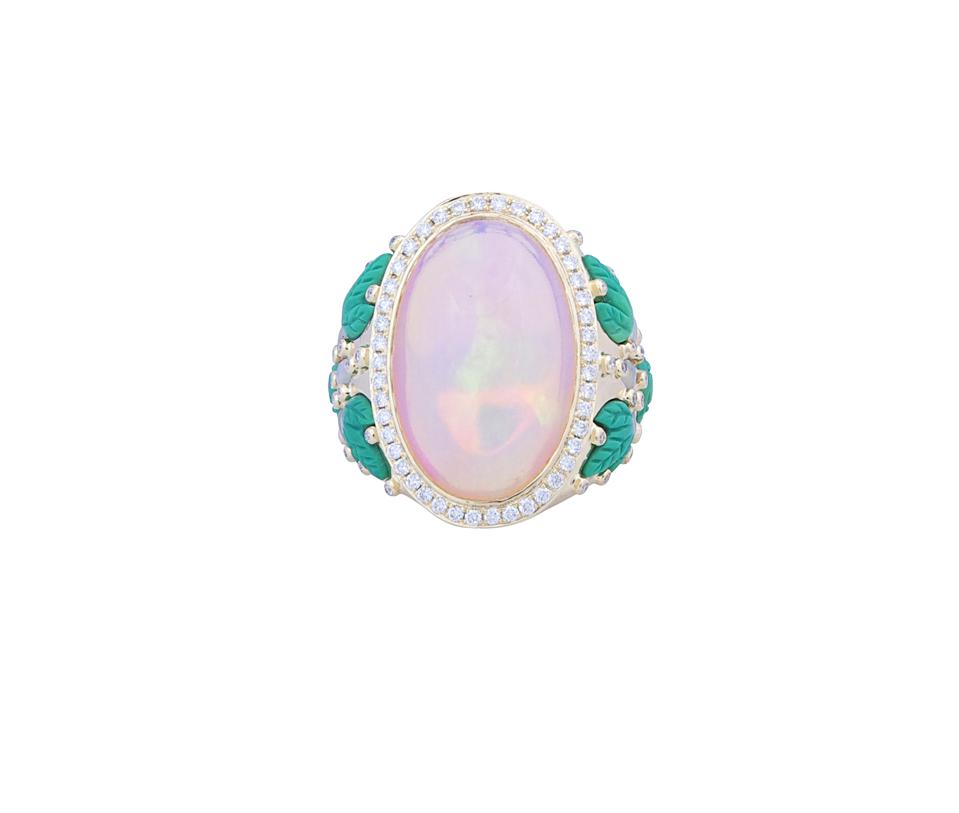The Hope ring, 18kt gold, and 12.18 carat white opal, with yellow opal, turquoise and diamonds, $18,191.