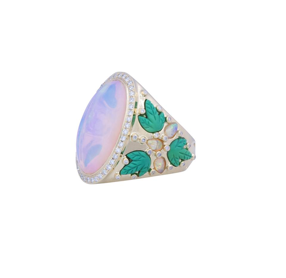 Turquoise leaves, yellow opals and diamonds shoulder the central opal in the Hope ring by Alexandra Abramczyk.