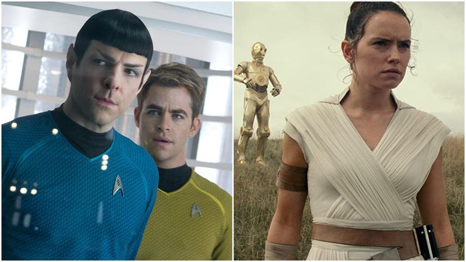 Zachary Quinto and Chris Pine in 'Star Trek Into Darkness' and Daisy Ridley in 'Star Wars: The Rise of Skywalker'