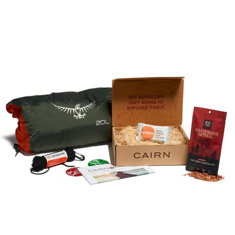A box of camping gear
