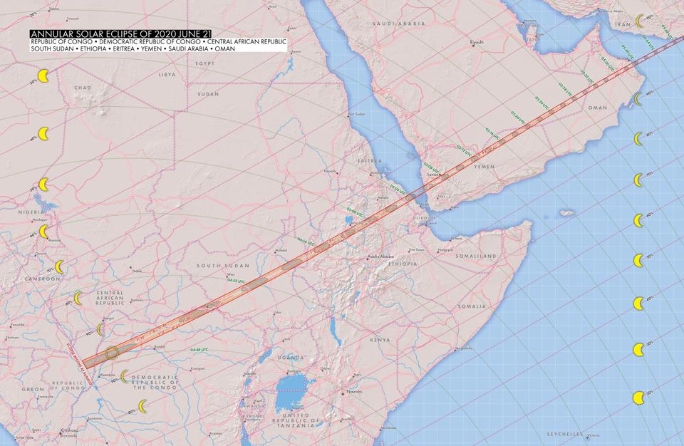 The path of today's eclipse began in Africa and crossed into the Arabian Peninsula.