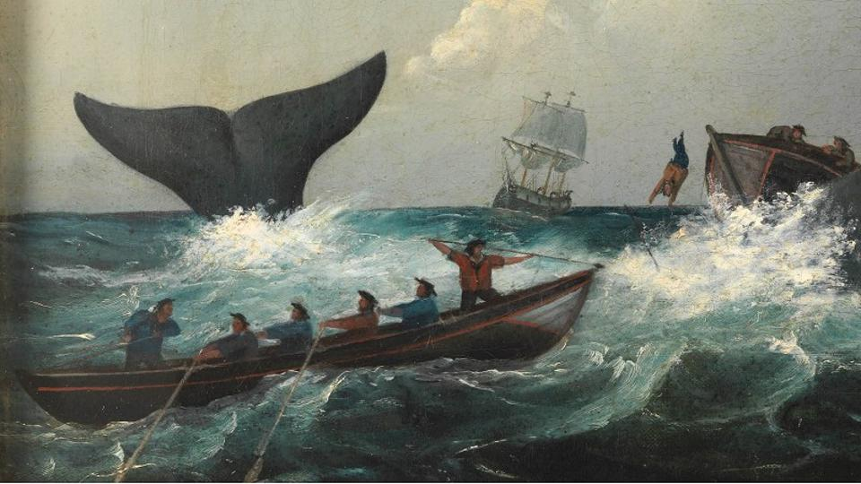 Whalers about to be capsized by the great white whale, Moby Dick.