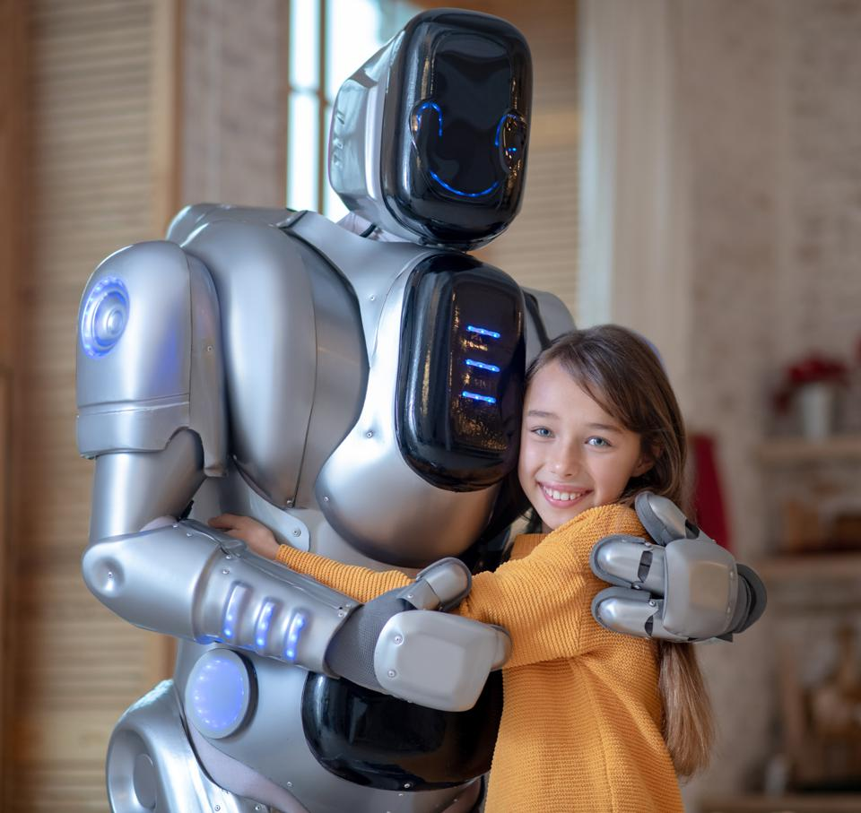 Picture of cute girl and big robot in the kitchen
