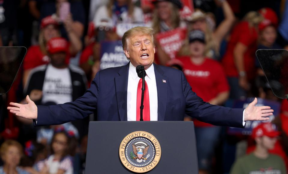 Trump speaks at campaign rally on June 20, 2020.