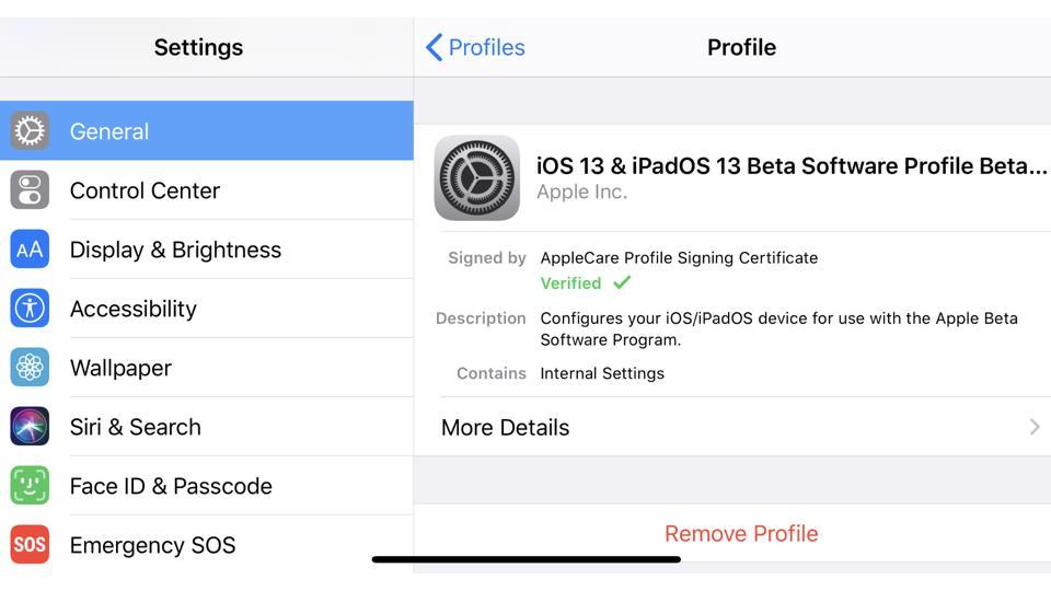 Remove iOS 13 Beta Software Profile