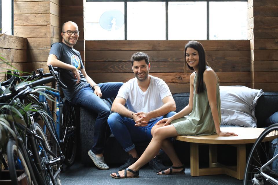 Canva cofounders Cameron Adams, Cliff Obrecht and CEO Melanie Perkins