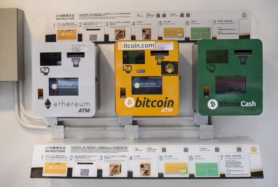 A Bitcoin ATM machine in Wan Chai, Hong Kong...