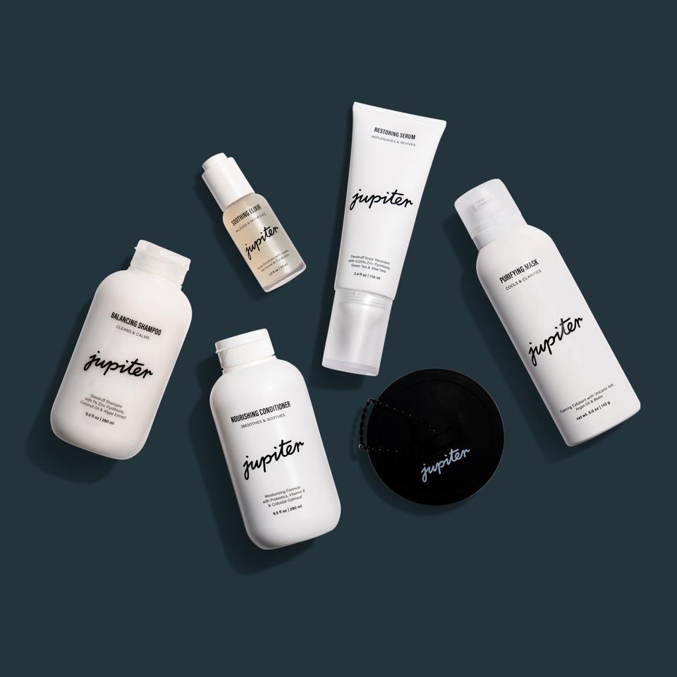 Jupiter Group Shot:  Balancing Shampoo, Nourishing Conditioner, Restoring Serum, Soothing Elixir, Purifying Mask, and Scalp Brush. Price: $21-$29 --