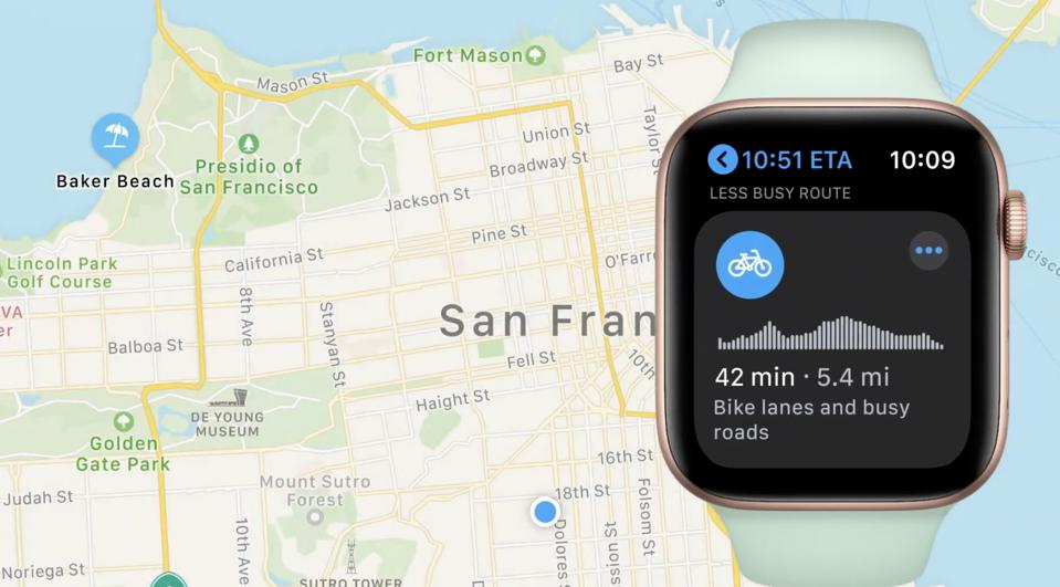 Cycling in Maps on the Watch
