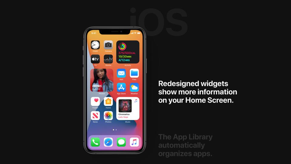 iOS 14 preview on the Apple home page