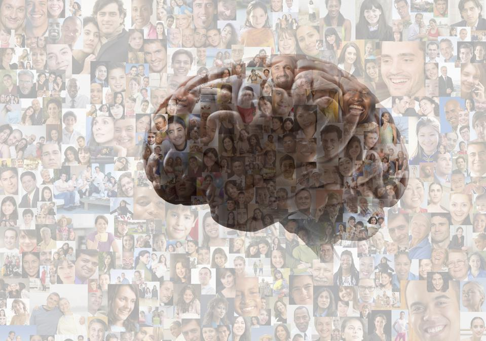Brain overlaid on collage of faces
