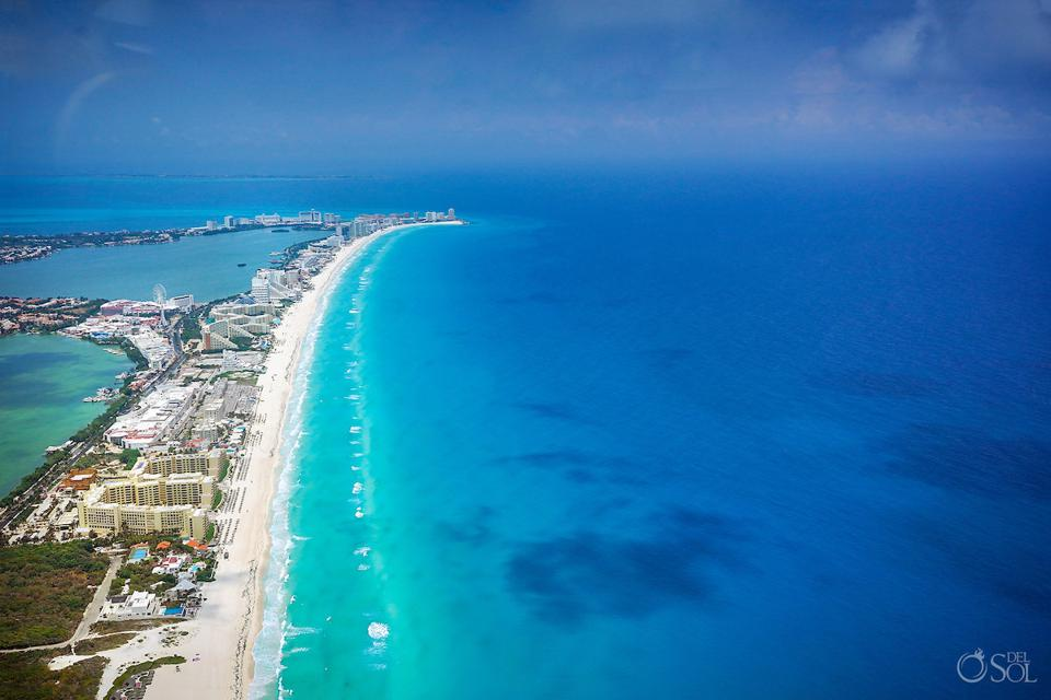 Cancun area aerial photography without tourists during April 2020 quarantine