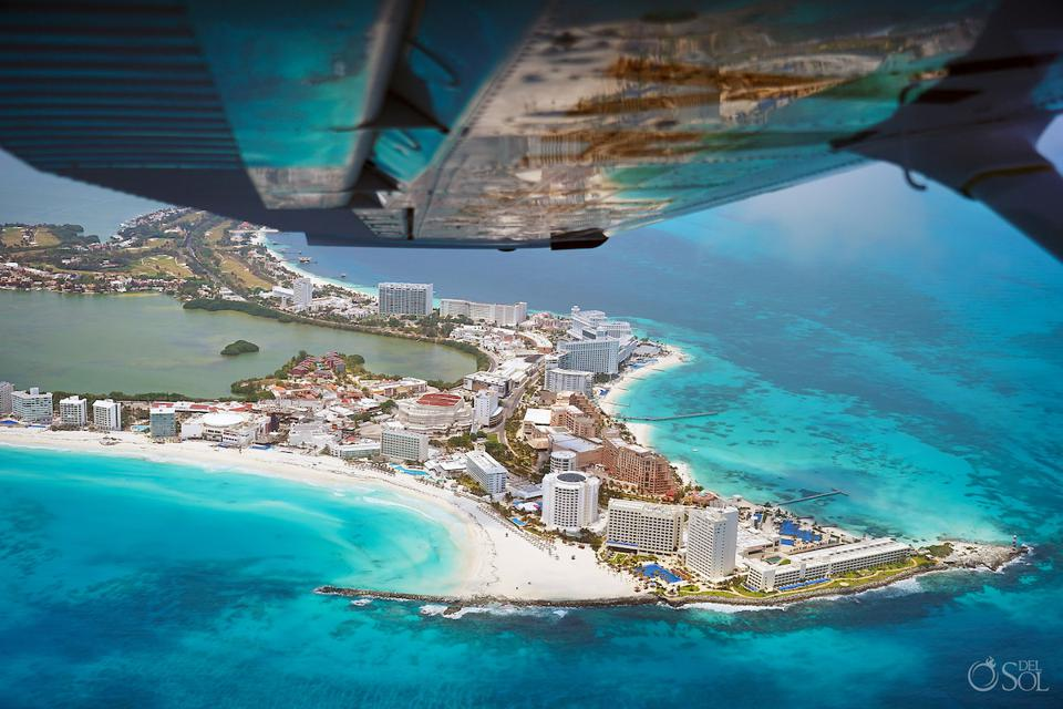 Shot through the window of Fly Cozumel airplane